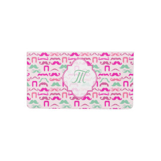 Pretty pink and green girly mustache checkbook cover