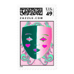 Pretty Pink and Green Mask Postage