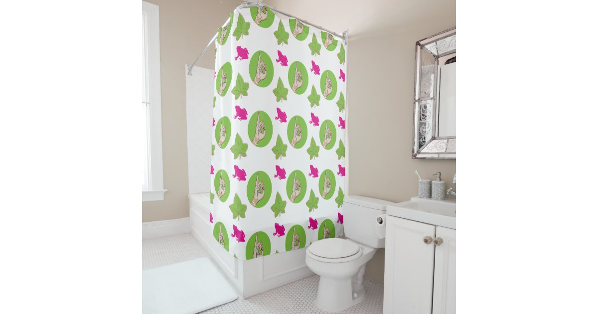 pretty pink and green shower curtain zazzle. Black Bedroom Furniture Sets. Home Design Ideas