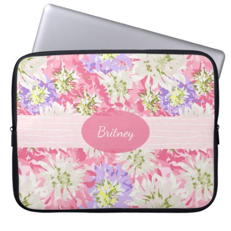 Pretty Pink and Lavender Floral Monogram Laptop Sleeve