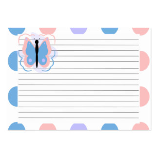 Pretty Pink And Light Blue Butterfly Recipe Card Business Card Template