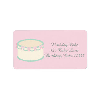 Pretty Pink and Light Green Vanilla Birthday Cake Label