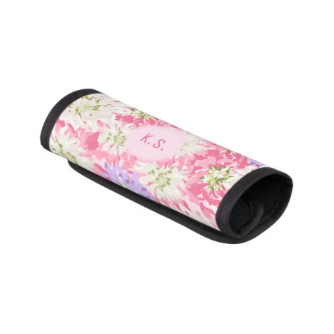 Pretty pink and mauve floral monogram luggage handle wrap
