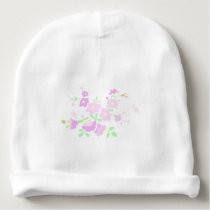 Pretty Pink And Mauve Flowers Baby Beanie