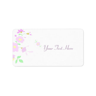 Pretty Pink And Mauve Flowers Label