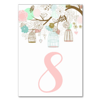 Pretty Pink and Mint Birdcages Table Numbers I Card