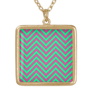 Pretty Pink and Minty Green Chevron Pattern Necklace