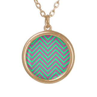 Pretty Pink and Minty Green Chevron Pattern Pendant