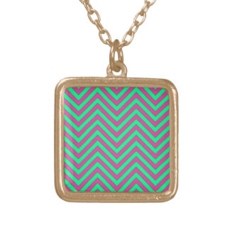 Pretty Pink and Minty Green Chevron Pattern Custom Necklace