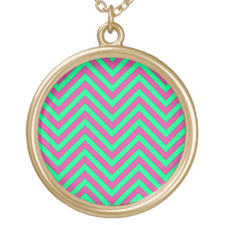 Pretty Pink and Minty Green Chevron Pattern Personalized Necklace