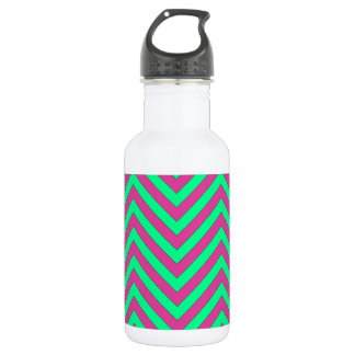 Pretty Pink and Minty Green Chevron Pattern Stainless Steel Water Bottle