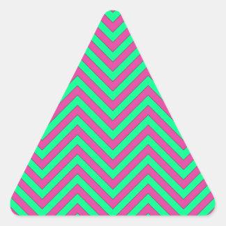 Pretty Pink and Minty Green Chevron Pattern Triangle Sticker