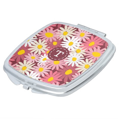Pretty pink  and mulberry daisies monogram mirror for makeup