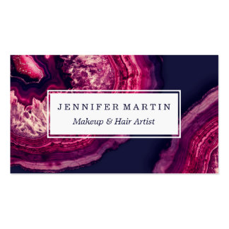 Pretty Pink and Purple Agate Geode Stone on Blue Business Card