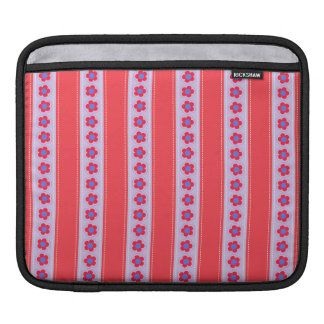 Pretty Pink and Purple Flowers and Stripes Sleeve For iPads