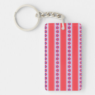 Pretty Pink and Purple Flowers and Stripes Keychain