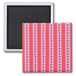 Pretty Pink and Purple Flowers and Stripes Magnet