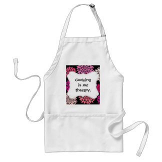 Pretty Pink and Purple Flowers on Black Apron