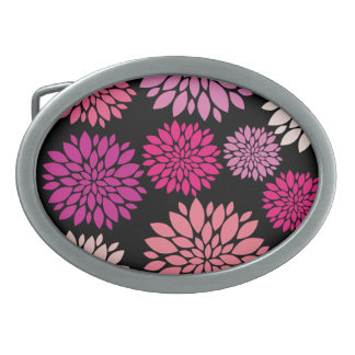 Pretty Pink and Purple Flowers on Black Belt Buckle
