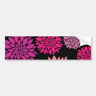 Pretty Pink and Purple Flowers on Black Bumper Stickers