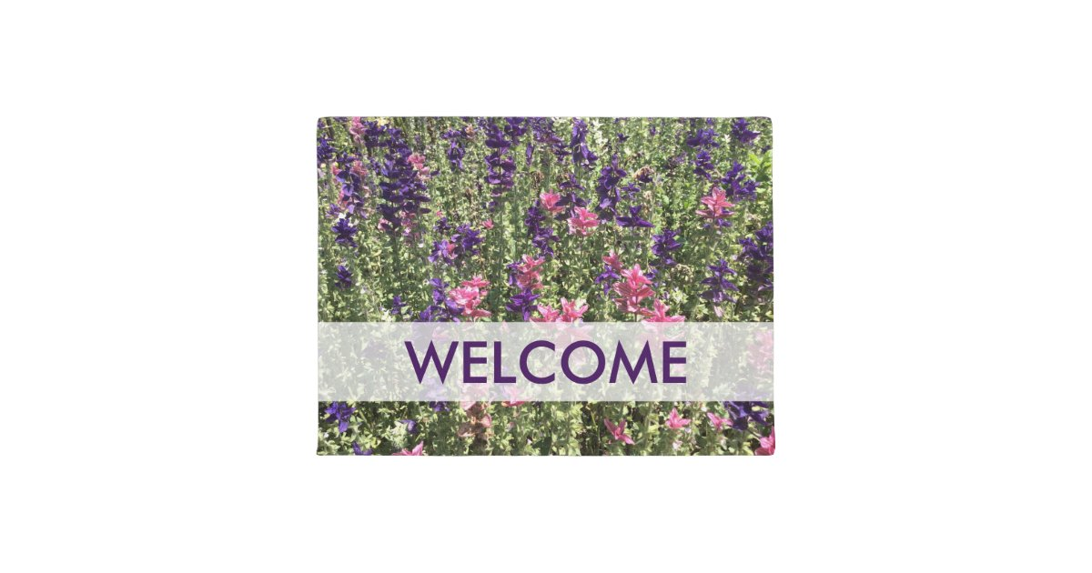 Pretty Pink And Purple Flowers Welcome Doormat Zazzle