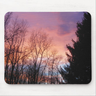 Pretty Pink and Purple Sky Mouse Pad