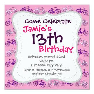 Pretty Pink and Purple Vintage Bicycle Bikes Print Card