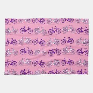 Pretty Pink and Purple Vintage Bicycle Bikes Print Kitchen Towel