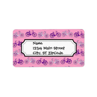 Pretty Pink and Purple Vintage Bicycle Bikes Print Label