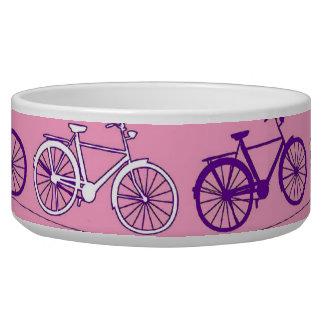 Pretty Pink and Purple Vintage Bicycle Bikes Print Dog Food Bowls
