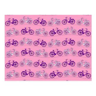 Pretty Pink and Purple Vintage Bicycle Bikes Print Postcard