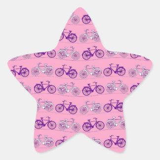 Pretty Pink and Purple Vintage Bicycle Bikes Print Star Sticker