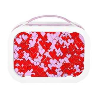 Pretty Pink and Red Hearts Lunch Box