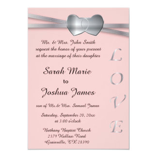 Pretty Pink and Silver Wedding Love Hearts Card