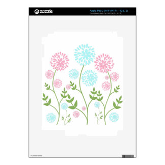 Pretty Pink and teal blue flowers Decal For iPad 3