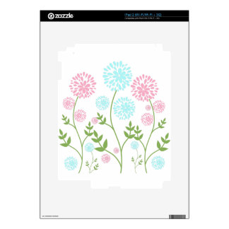 Pretty Pink and teal blue flowers iPad 2 Skin