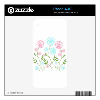Pretty Pink and teal blue flowers Skins For iPhone 4
