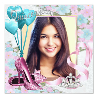 Pretty Pink and Teal Blue Tiara Photo Quinceanera Card