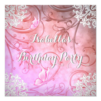 Pretty Pink and White Butterfly Damask Party Card