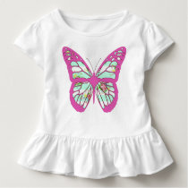 Pretty Pink and White Butterfly w  Floral Pattern Toddler T-shirt