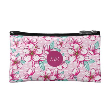 Pretty Pink and White Cherry Blossom Monogram Makeup Bag