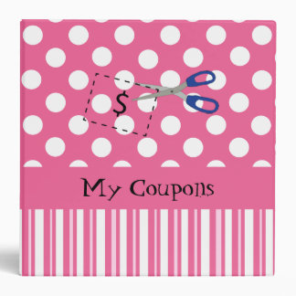 Pretty Pink and White Coupon Organizer 3 Ring Binder