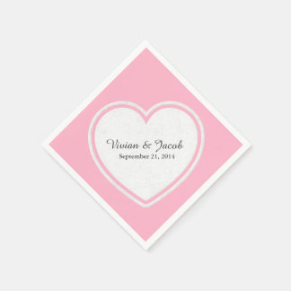 Pretty Pink and White Custom Wedding Napkin