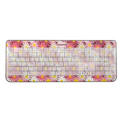 Pretty pink and white daisies wireless keyboard