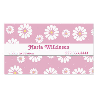 Pretty Pink and White Daisy Mommy Card Double-Sided Standard Business Cards (Pack Of 100)