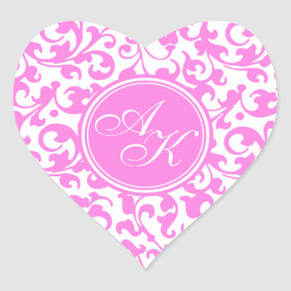 Pretty Pink and White Damask Monogram Heart Stickers