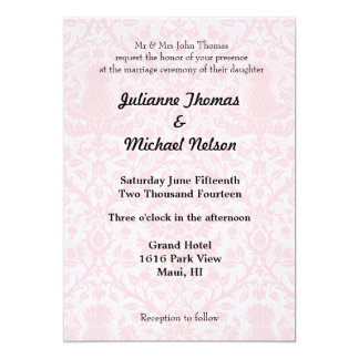 Pretty Pink and White Damask Wedding Card