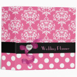 Pretty Pink and White Damask Wedding Planner Vinyl Binder