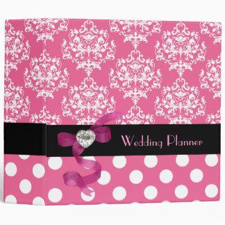 Pretty Pink and White Damask Wedding Planner Binder