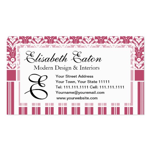 Pretty Pink and White Floral Art Deco Retro Damask Business Card